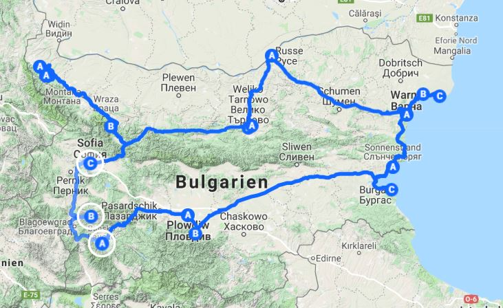 Bulgarien Route